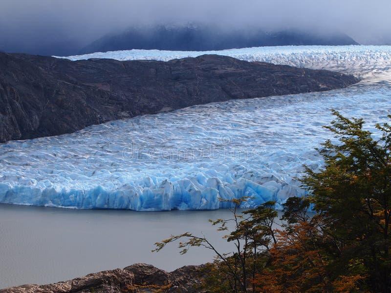 冰川灰色在托里斯del潘恩国家公园,智利 免版税图库摄影