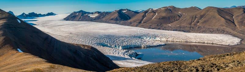 冰川舌头在从挪威的斯瓦尔巴特群岛海岛 免版税库存图片
