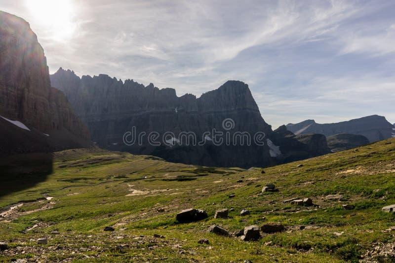 冰川蒙大拿国家公园 承担Mt攀登  Siyeh 库存照片