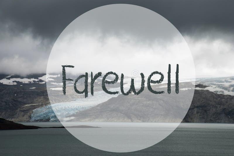 冰川,湖,文本告别,挪威,多云天空 免版税库存图片