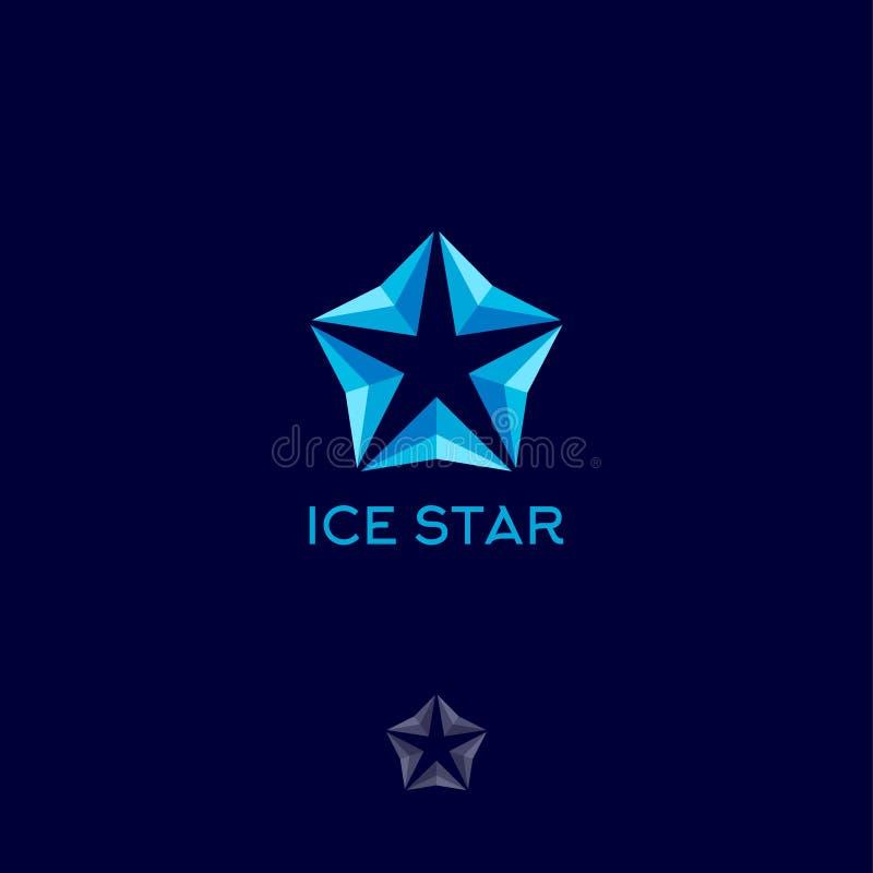 冰星商标 蓝色抽象几何象征,隔绝在黑暗的背景 皇族释放例证