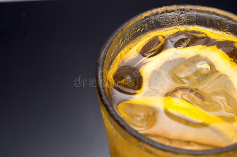 冰柠檬茶特写镜头 库存照片