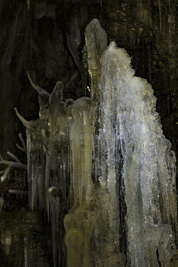 冰柱特写镜头在夜间的 库存图片