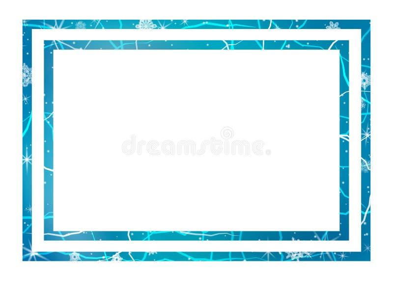 冰框架  中心颜色包括对比冷静边缘框架冰低模式雪纹理冬天 皇族释放例证