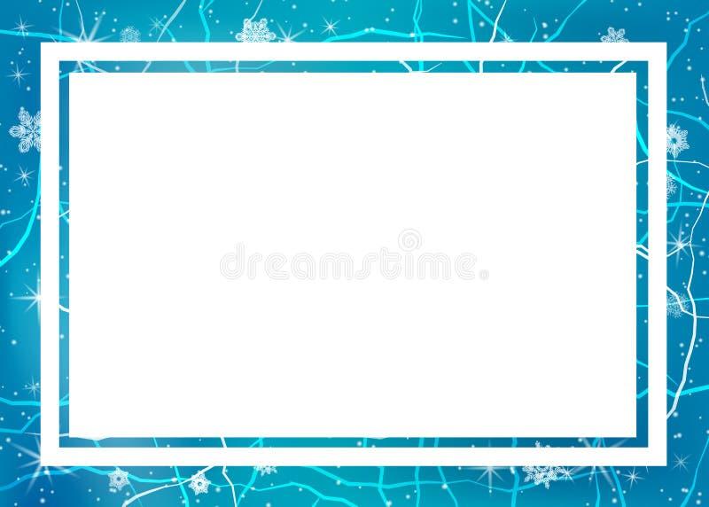 冰框架  中心颜色包括对比冷静边缘框架冰低模式雪纹理冬天 向量例证