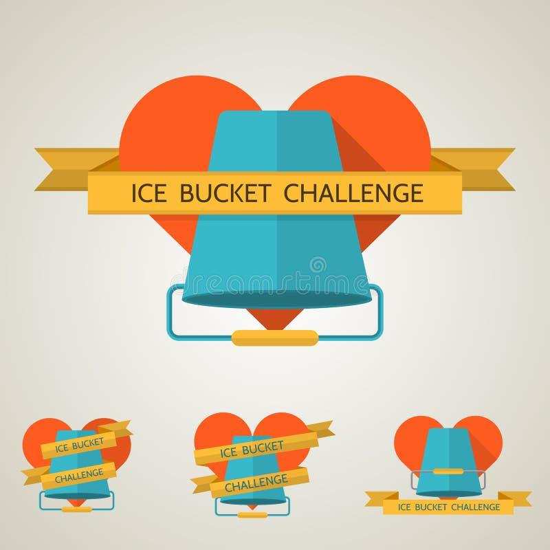 冰桶挑战的平的概念例证 库存例证