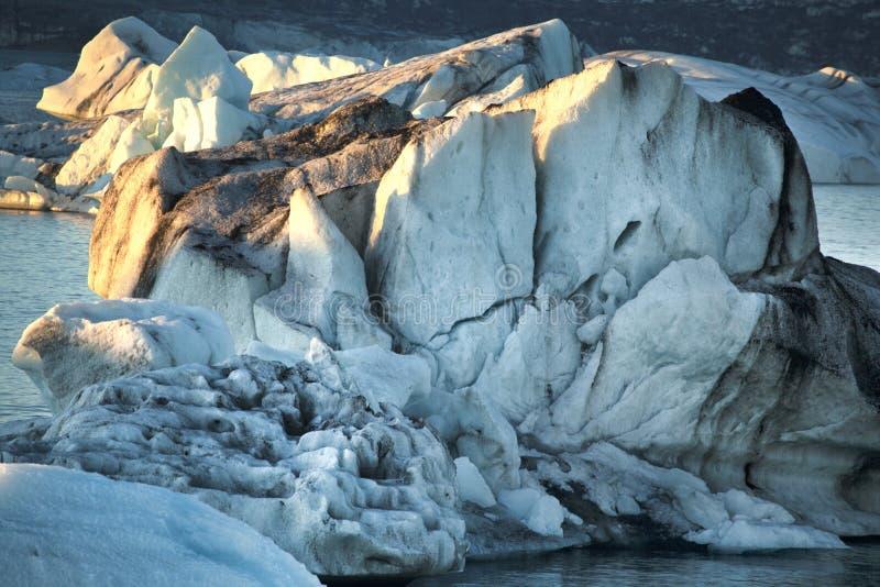 冰河湖冰岛冰特写镜头 图库摄影