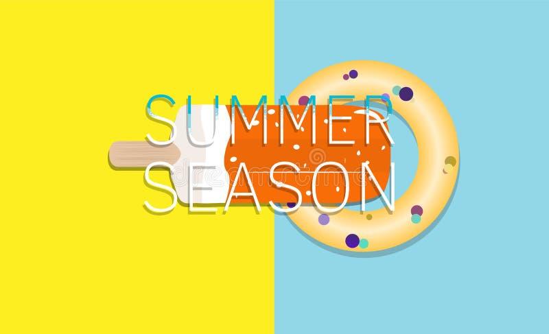冰淇凌、可膨胀的圈子和inscriptio夏天背景  皇族释放例证