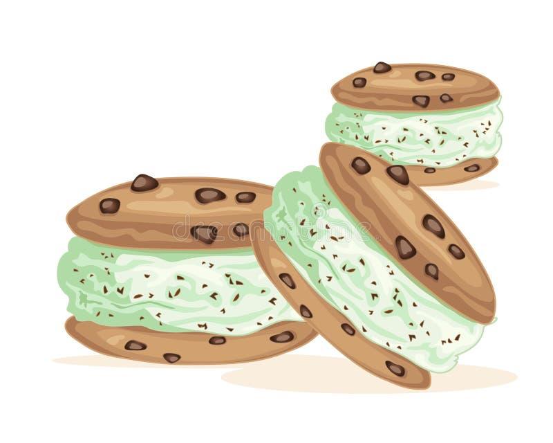 冰淇凌三明治 向量例证