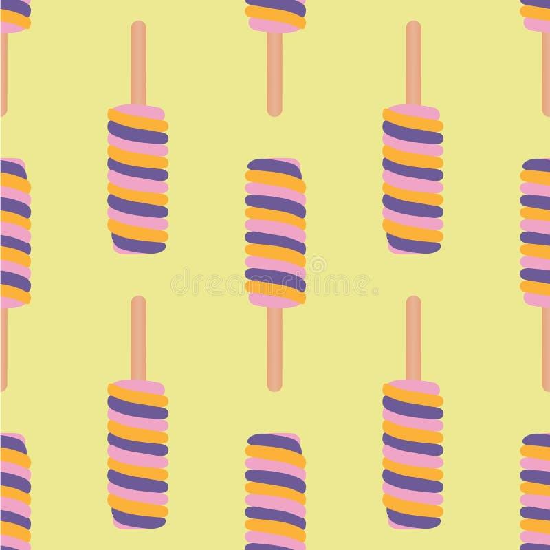 冰淇凌五颜六色的无缝的样式 皇族释放例证