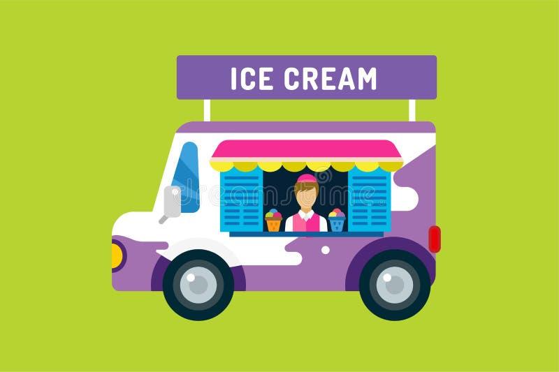 冰淇凌传染媒介卡车搬运车 皇族释放例证