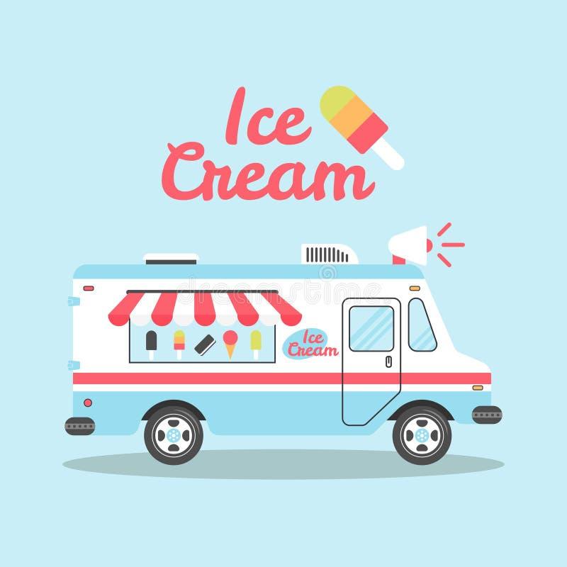 冰淇凌卡车传染媒介平的五颜六色的例证 向量例证