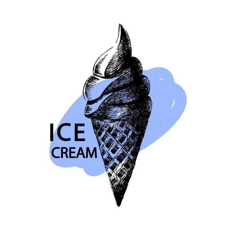 冰淇凌印刷品 也corel凹道例证向量 背景看板卡祝贺邀请 查出在白色 与油漆冲程和t的手拉的冰淇凌剪影 皇族释放例证