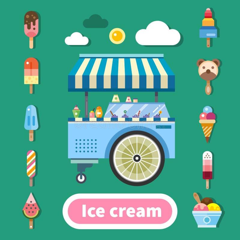 冰淇凌台车在一个热的晴天 皇族释放例证