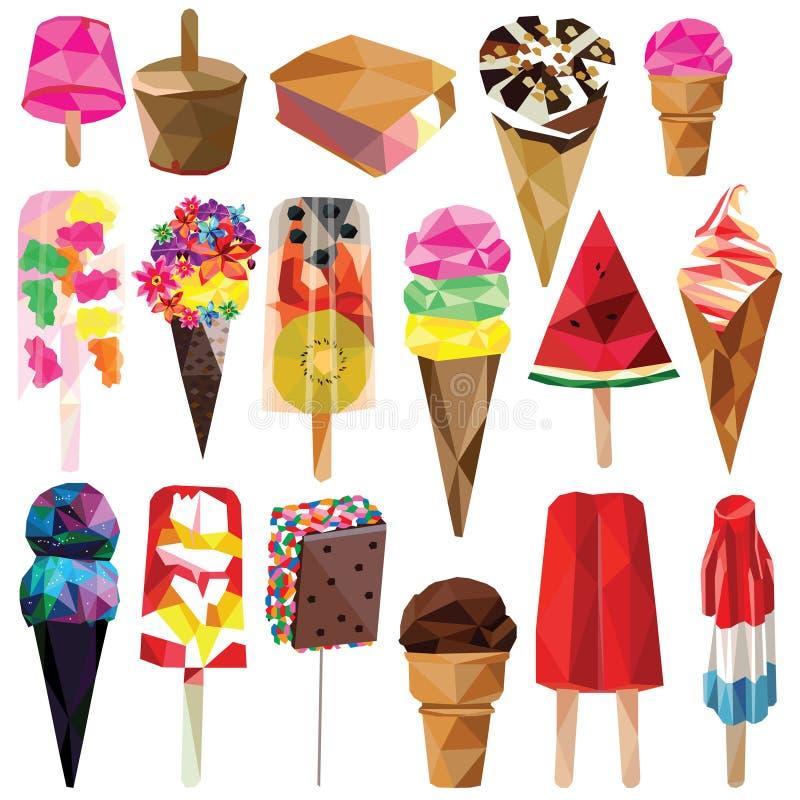 冰淇凌和冰棍儿集合 向量例证