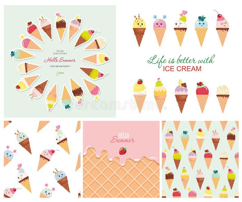 冰淇凌大集合 无缝的样式,模板,贴纸 你好夏天设计 库存例证