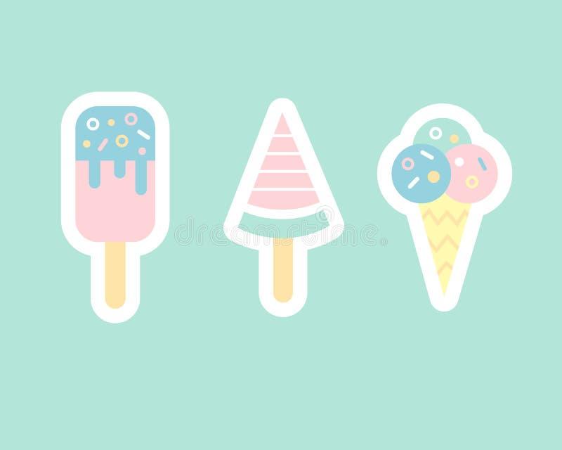 冰淇凌平的贴纸负面因素 库存例证