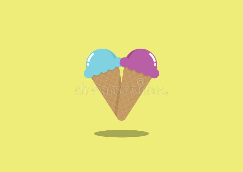 冰淇凌恋人传染媒介例证 库存照片