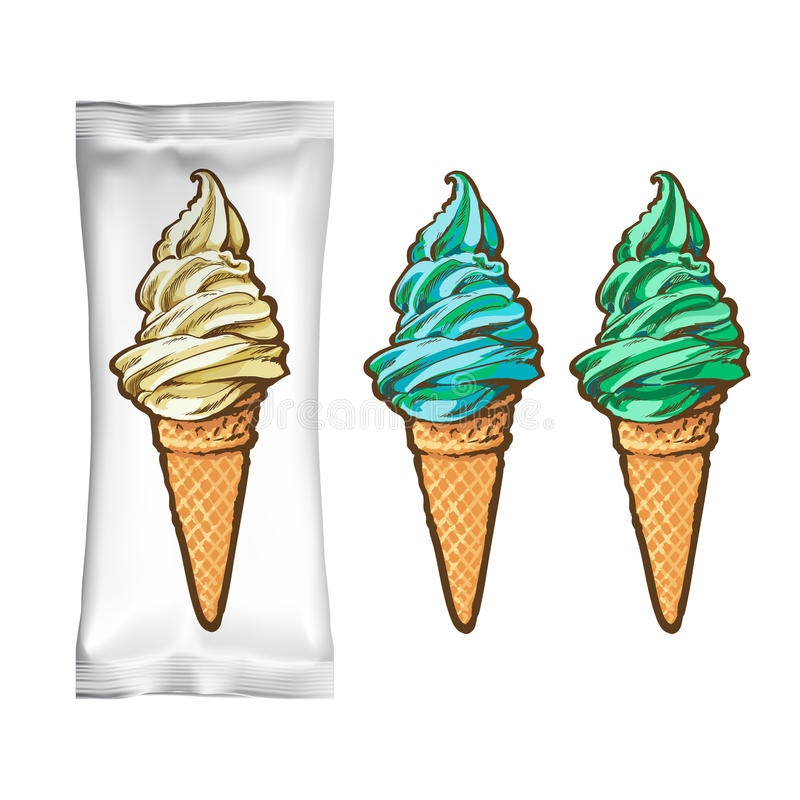 冰淇凌成套设计 向量例证