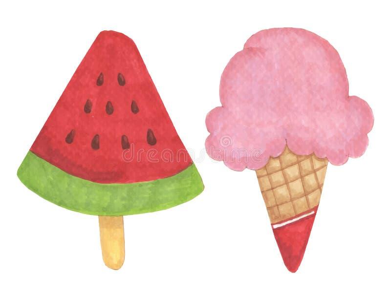 冰淇凌手拉的例证 库存例证