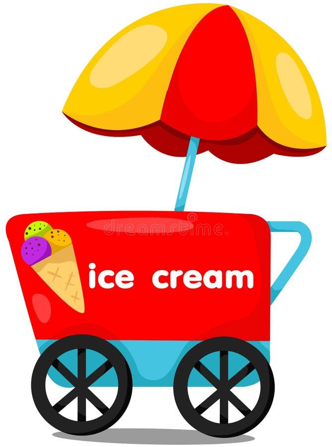 冰淇凌推车商店 向量例证