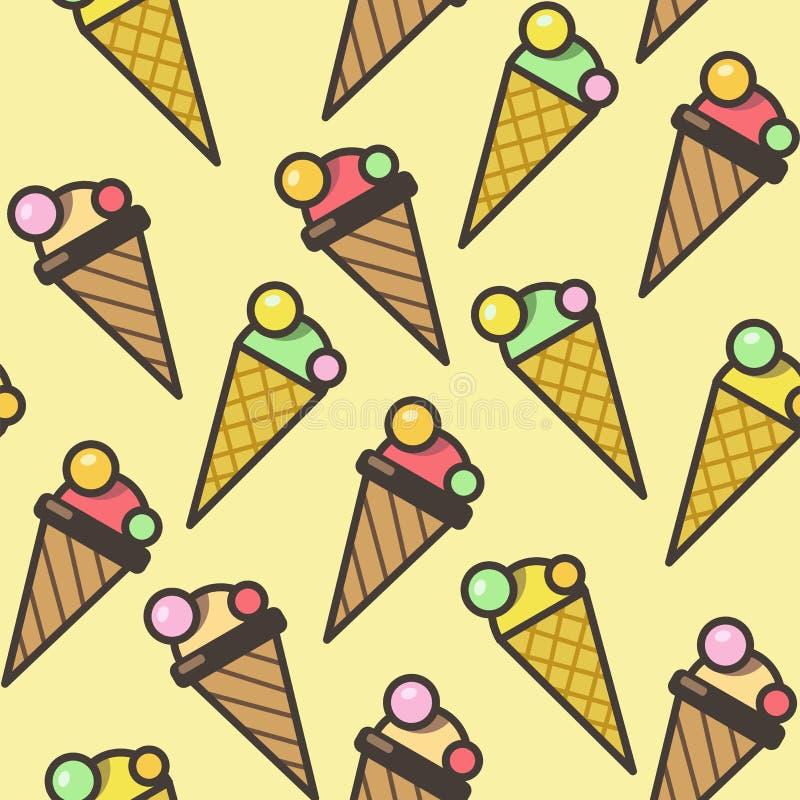 冰淇凌无缝的样式背景,五颜六色的例证 eps10开花橙色模式缝制的rac ric缝的镶边修整向量墙纸黄色 向量例证