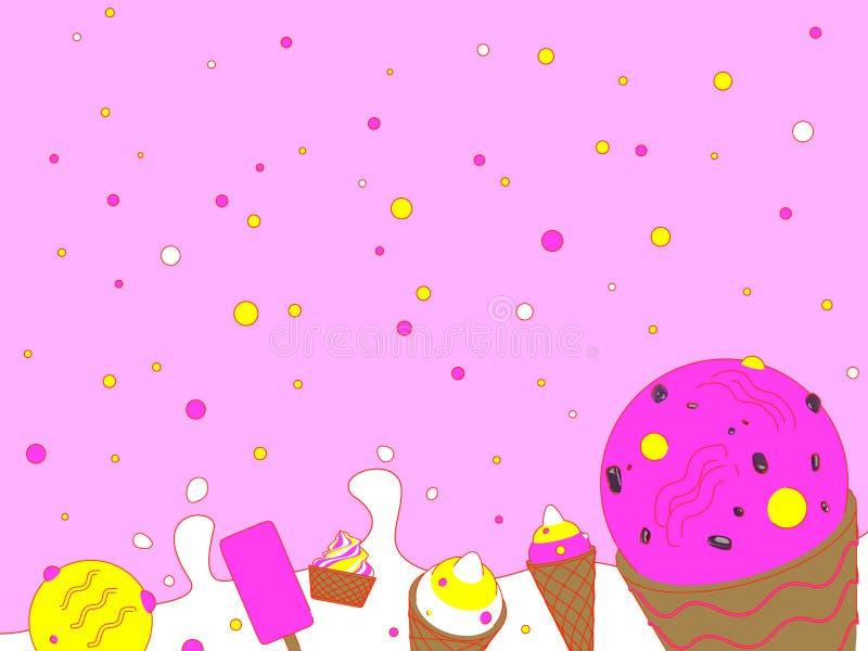 冰淇凌有桃红色背景 皇族释放例证