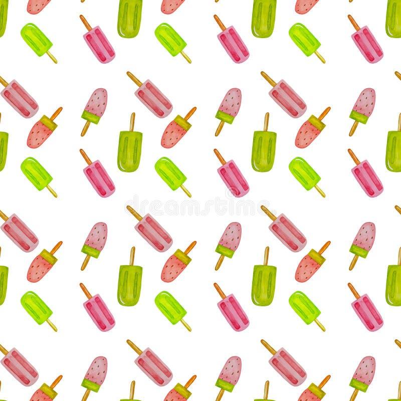 冰淇凌水彩集合,patern在白色背景 与quiwi,莓果的果子冰淇凌 r 食物desighn, 皇族释放例证