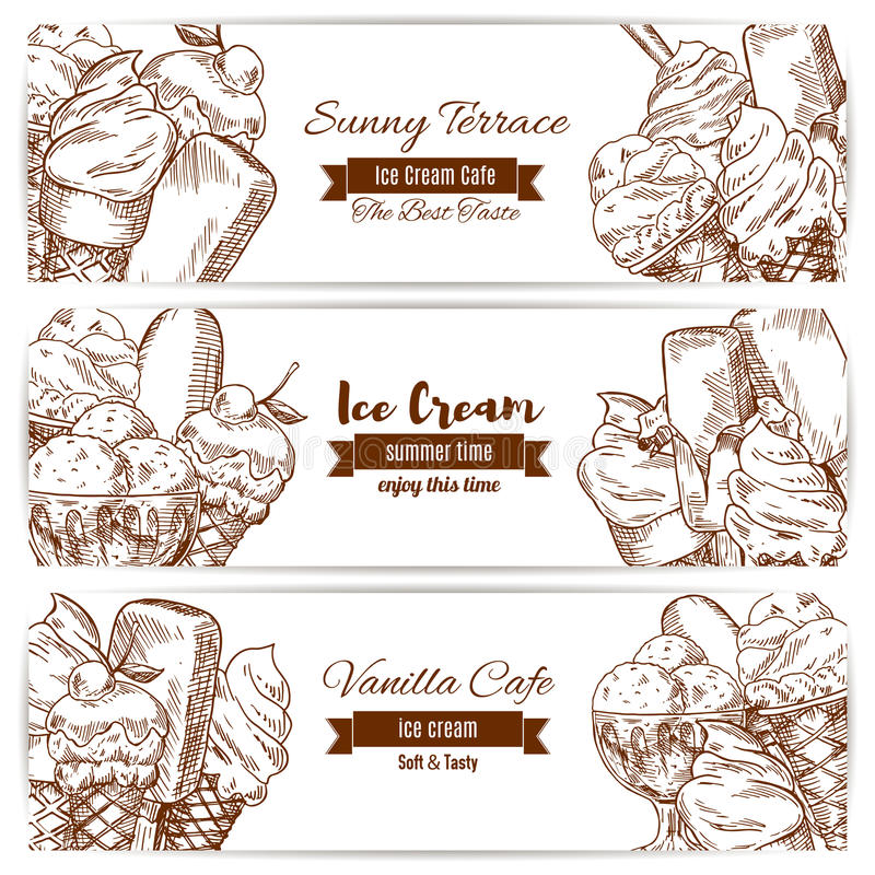 冰淇凌点心速写咖啡馆的传染媒介横幅 向量例证