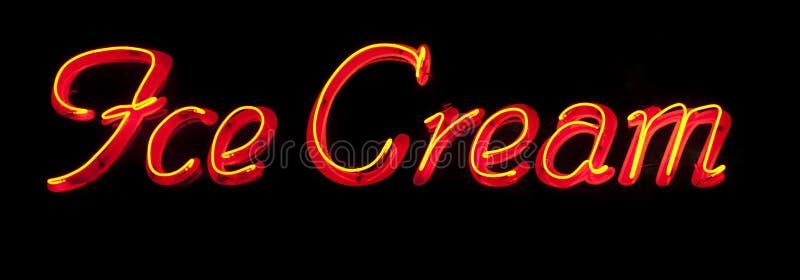 冰淇凌霓虹灯广告 库存图片