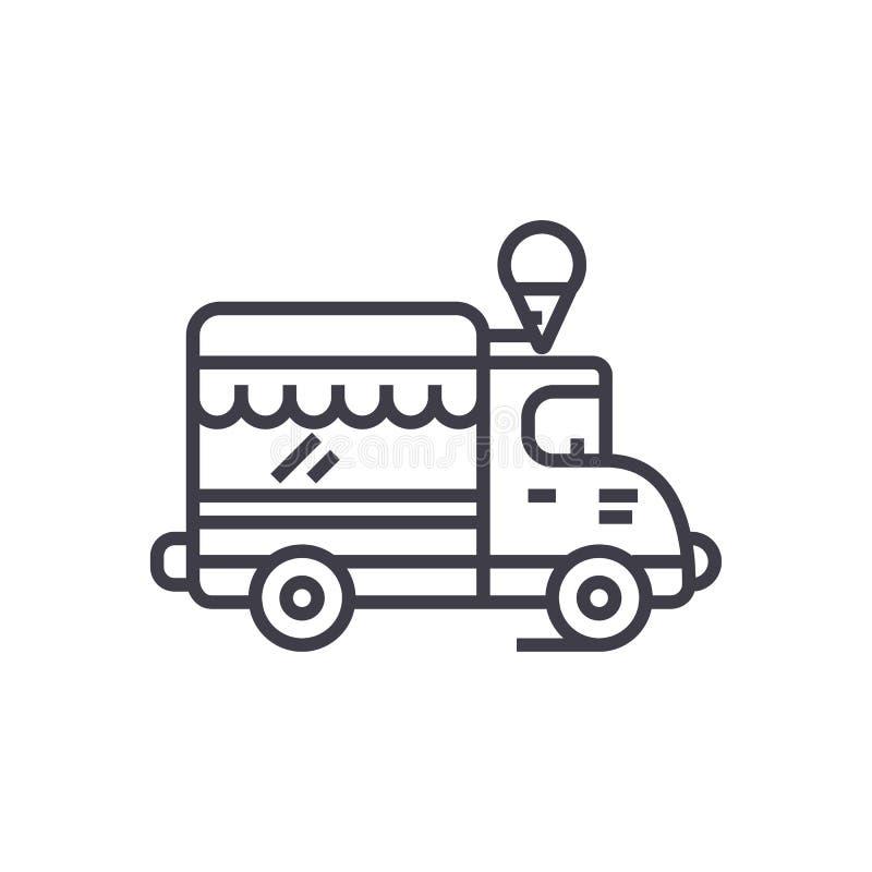 冰淇凌,食物卡车传染媒介线象,标志,在背景,编辑可能的冲程的例证 皇族释放例证