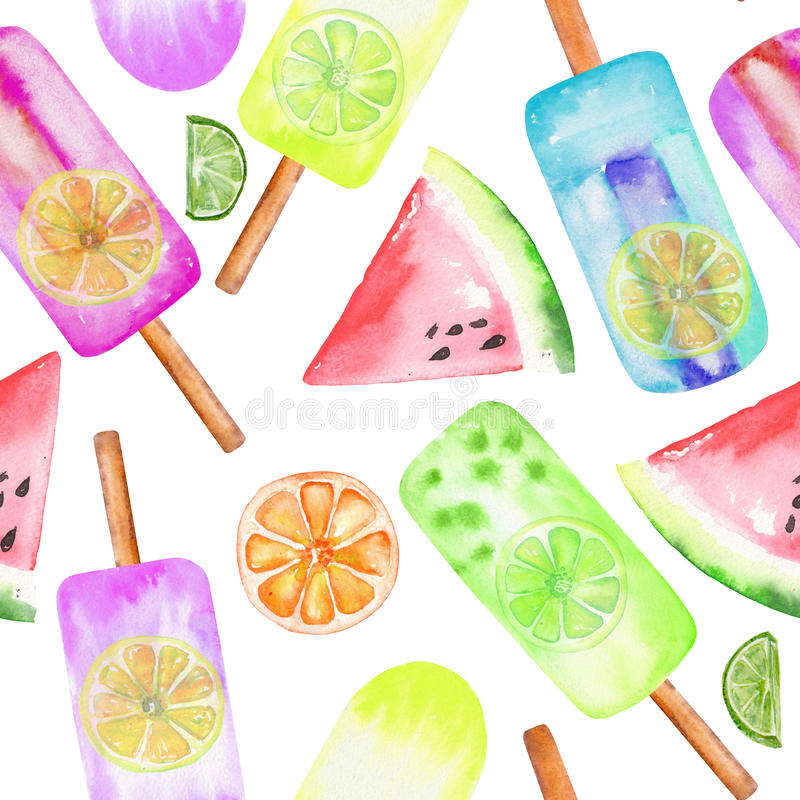 冰淇凌,结冰的汁液、柑橘和西瓜样式,手拉在白色背景的水彩 库存例证