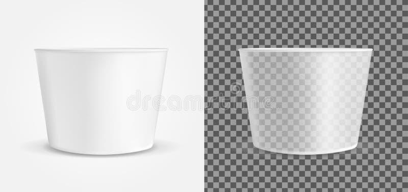 冰淇淋或便当的透明空的塑胶容器 包装调味汁和快餐的 向量例证