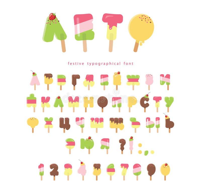 冰淇淋斯拉夫语字母的字体 冰棍儿动画片信件和数字可以为夏天设计使用 : 向量例证