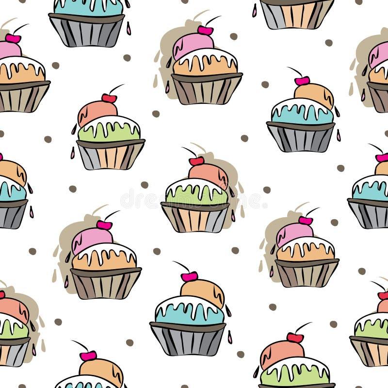 冰淇淋欢欣甜梦想无缝的重复样式例证 在桃红色的背景,蓝色,橙色,绿色,红色,奶油色 向量例证