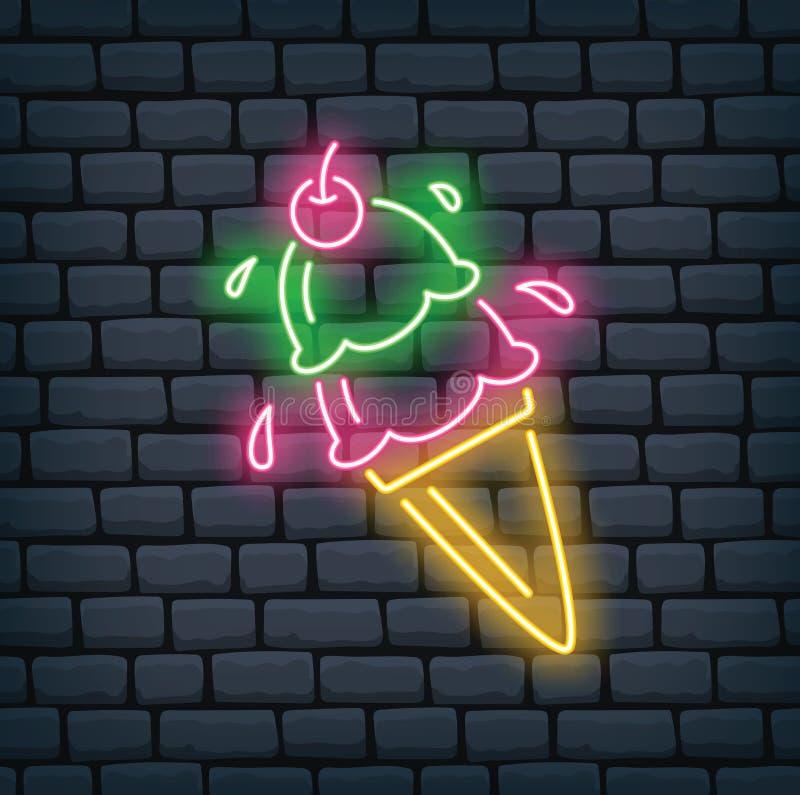 冰淇淋锥体霓虹灯广告 库存例证