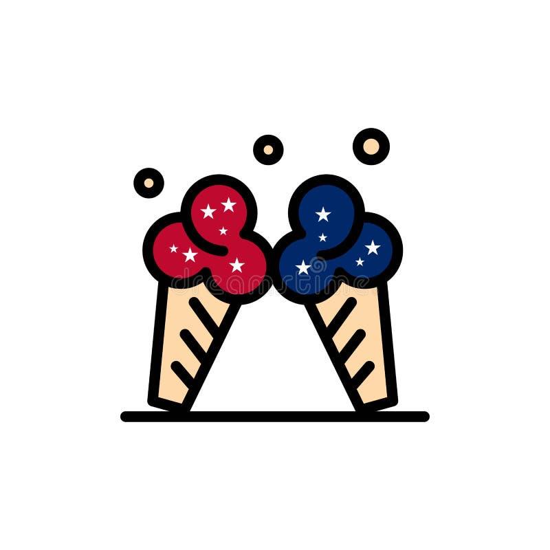 冰淇淋,冰,奶油,美国平的颜色象 传染媒介象横幅模板 皇族释放例证