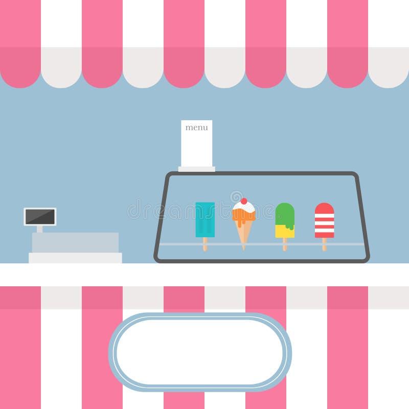 冰淇淋kios前面购物与淡色 皇族释放例证