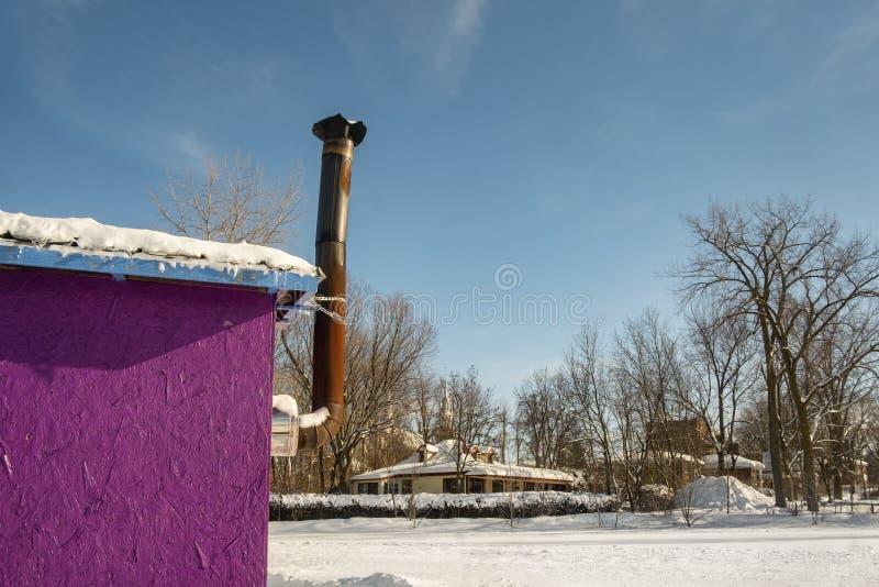 冰渔客舱烟囱在Ste罗斯拉瓦尔 库存照片
