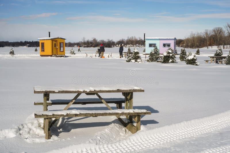 冰渔色的客舱场面在Ste罗斯拉瓦尔 库存图片