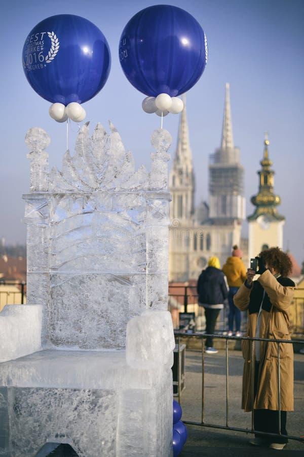 冰王位在萨格勒布,克罗地亚 免版税库存图片