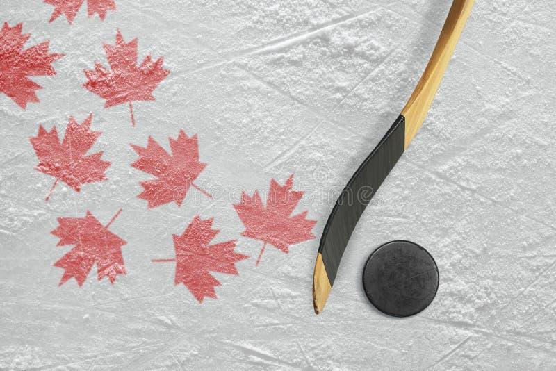 冰球、曲棍和槭树叶子 图库摄影