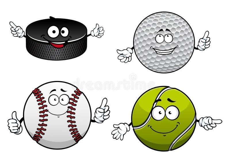冰球、高尔夫球、网球和棒球项目 向量例证