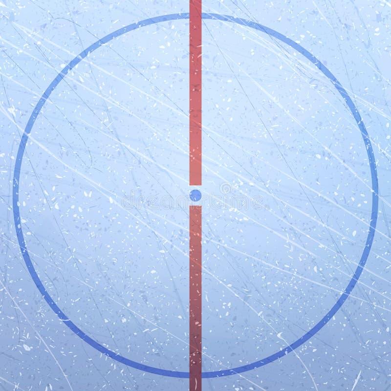 冰球场传染媒介  构造蓝色冰 滑冰场 冰球体育场 运动场的图 中央 向量例证