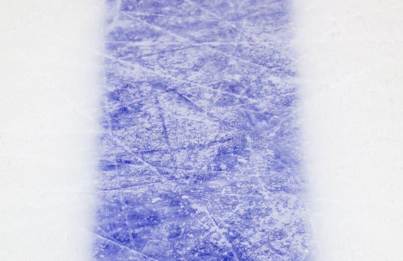 冰球场蓝色标号特写镜头,冬季体育背景 库存照片