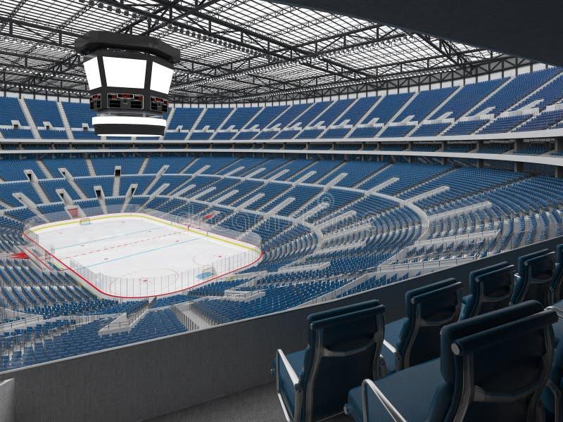 冰球的美好的竞技场与蓝色供以座位3d回报的VIP箱子 库存例证