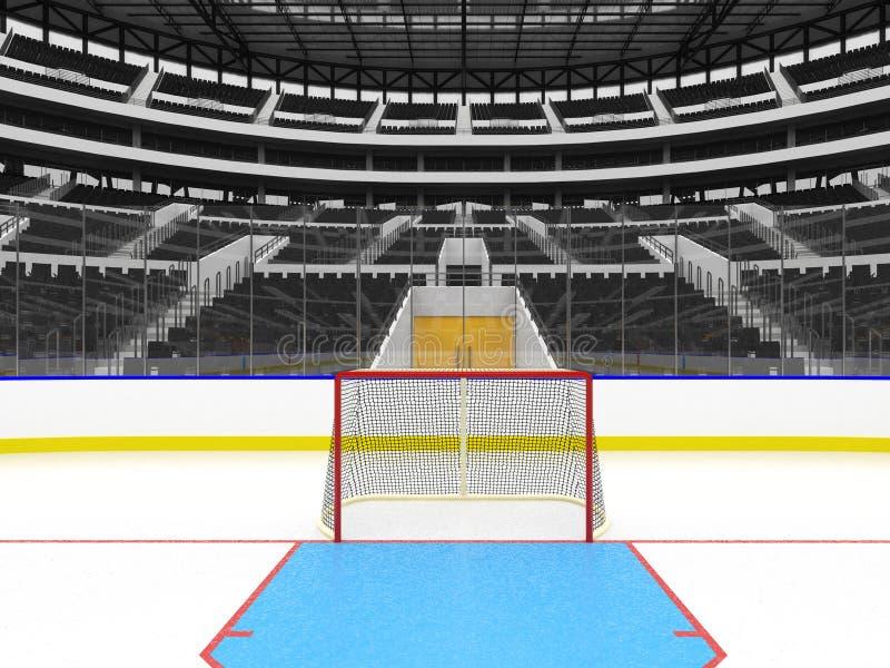 冰球的美好的竞技场与黑色供以座位VIP箱子 皇族释放例证