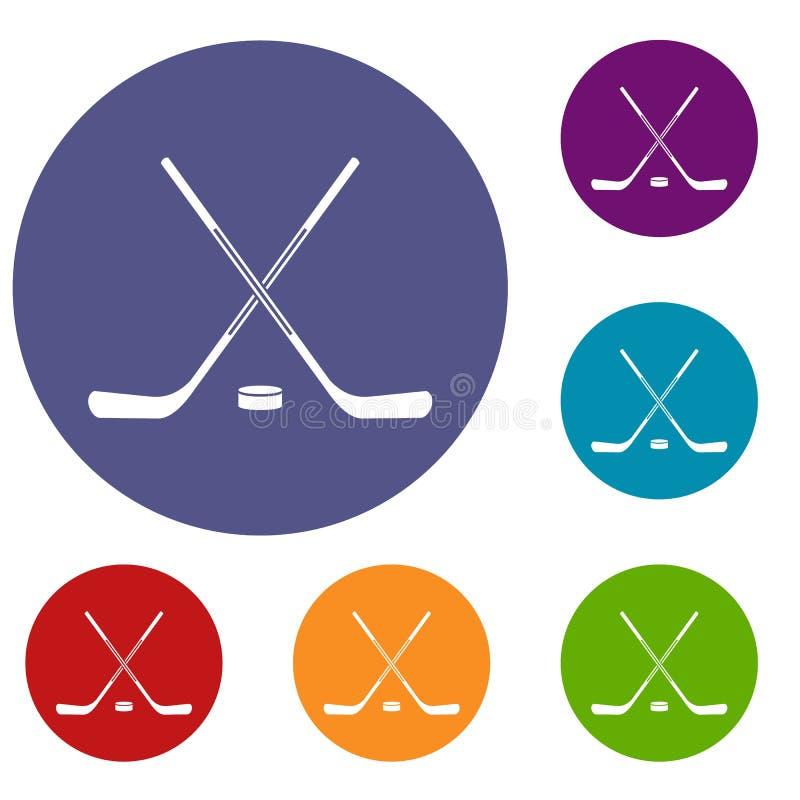 冰球被设置的棍子象 向量例证
