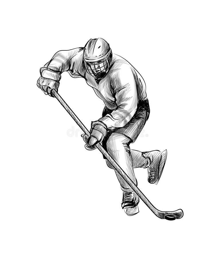 冰球运动员 手绘草图 冬季运动 向量例证