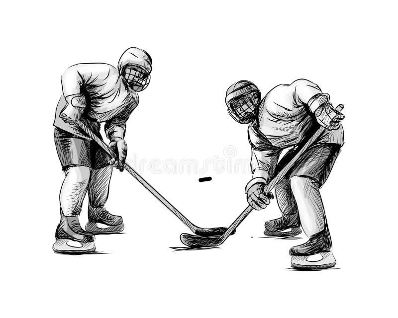 冰球运动员 手绘草图 冬季运动 库存例证